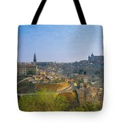 Aerial View Of A City, Toledo, Spain Tote Bag