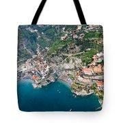 Aerial View Of A Town, Atrani, Amalfi Tote Bag