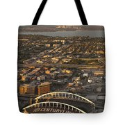 Aerial View Of Bellevue Skyline And Century Link  Tote Bag