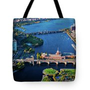 Aerial View Of Bridges Crossing Charles Tote Bag