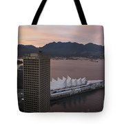 Aerial View Of Canada Place At Sunse Tote Bag