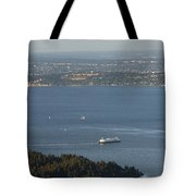 Aerial View Of Ferry Boats On Puget Sound Leaving Bainbridge Isl Tote Bag