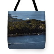 Aerial View Of Ferry Boats On Puget Sound One Leaving Bainbridge Tote Bag
