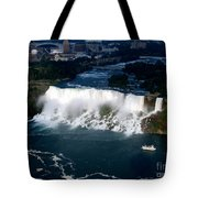 Aerial View Of Niagara Falls And River And Maid Of The Mist Tote Bag