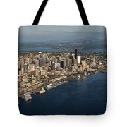 Aerial View Of Seattle Skyline With Elliott Bay And Ferry Boat Tote Bag