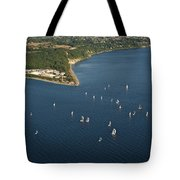 Aerial View Of Seattle Skyline With Sailboat Race On Puget Sound Tote Bag