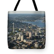 Aerial View Of Space Needle And Lake Union Tote Bag