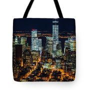 Aerial View Of The Lower Manhattan Skyscrapers By Night Tote Bag