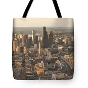 Aerial View Of The Seattle Skyline With Stadiums Tote Bag