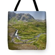 Aerial View Of Waterfall And River In Tote Bag