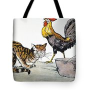 Aesop: Cat, Cock, And Mouse Tote Bag