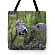 Affectionate Great Blue Heron Mates Tote Bag