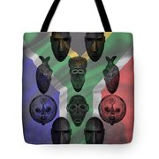 Africa Flag And Tribal Masks Tote Bag