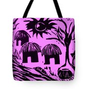 African Huts Pink Tote Bag