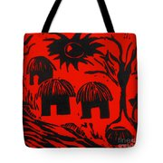 African Huts Red Tote Bag