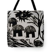 African Huts White Tote Bag by Caroline Street