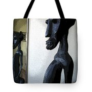 African Statue Reflection Tote Bag