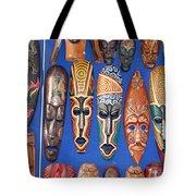 African Tribal Masks In Sidi Bou Said Tote Bag
