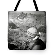 After Climbing Longs Peak, A Woman Tote Bag by Michael Hanson