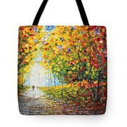 After Rain Autumn Reflections Acrylic Palette Knife Painting Tote Bag