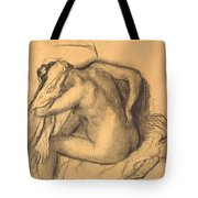 After The Bath .woman Drying Her Hair Tote Bag