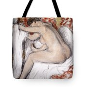 After The Bath Woman Drying Herself Tote Bag
