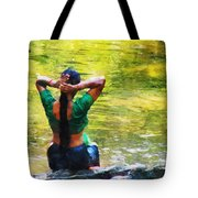 After The River Bathing. Indian Woman. Impressionism Tote Bag by Jenny Rainbow