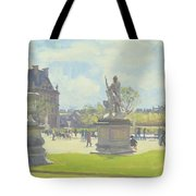 Afternoon In The Tuileries, Paris Oil On Canvas Tote Bag
