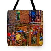 Afternoon Stroll French Bistro Sidewalk Cafe Colors Of Montreal Flags And Umbrellas City Scene Art Tote Bag