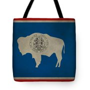 Aged Wyoming State Flag Tote Bag