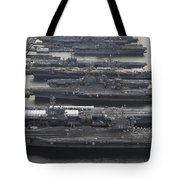 Aircraft Carriers In Port At Naval Tote Bag by Stocktrek Images