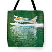 Aircraft Seaplane Taking Off On Calm Water Of Lake Tote Bag