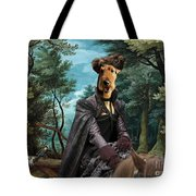 Airedale Terrier Art Canvas Print - Forest Landscape With Deer Hunting And Noble Lady Tote Bag
