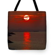 Airplane Flying At Sunrise Tote Bag