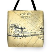 Airplane Patent Drawing From 1921-vintage Tote Bag