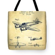 Airplane Patent Drawing From 1938-vintage Tote Bag