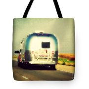 Airstream Rolling Down The Highway Tote Bag