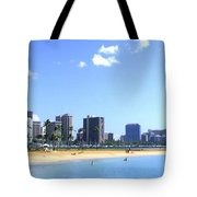 Ala Moana Beach Park And Diamond Head Tote Bag