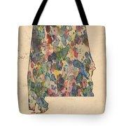 Alabama Map Vintage Watercolor Tote Bag by Florian Rodarte
