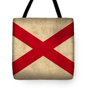 Alabama State Flag Art On Worn Canvas Tote Bag by Design Turnpike