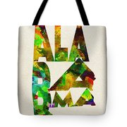 Alabama Typographic Watercolor Map Tote Bag