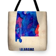 Alabama Watercolor Map Tote Bag by Naxart Studio