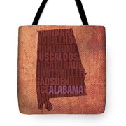 Alabama Word Art State Map On Canvas Tote Bag