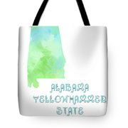 Alabama - Yellowhammer State - Map - State Phrase - Geology Tote Bag by Andee Design