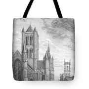 Alarming Morning In Ghent. The Left Part Of The Triptych - The Age Of Cathedrals Tote Bag