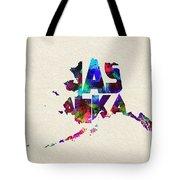 Alaska Typographic Watercolor Map Tote Bag