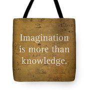 Albert Einstein Quote Imagination Science Math Inspirational Words On Worn Canvas With Formula Tote Bag