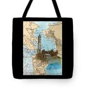Alcatraz Island Lighthouse Ca Nautical Chart Map Art Tote Bag