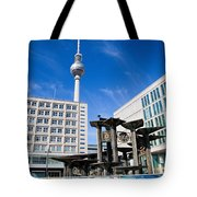 Alexanderplatz View On Television Tower Berlin Germany Tote Bag