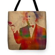 Alfred Hitchcock Watercolor Portrait On Worn Parchment Tote Bag